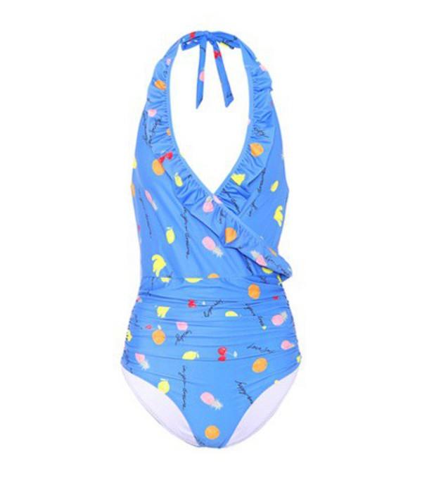 Ganni Dexies halterneck swimsuit in blue