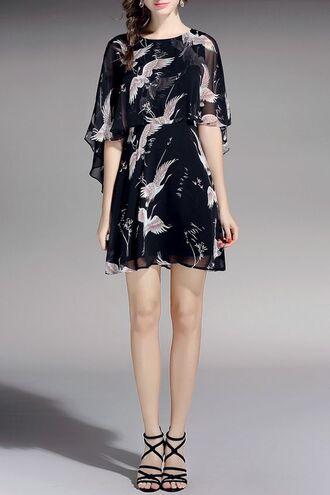 dress dezzal black mesh see through print boho chic trendy mini dress