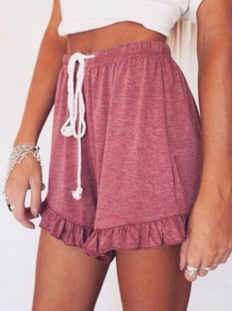 shorts high waisted shorts summer shorts brandy melville drawstring shorts drawstring summer sumemr summer outfits summer top summer holidays summer dress floral comfy shorts comfy drawstring pants burgundy pants burgundy maroon/burgundy