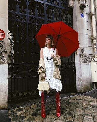shoes boots red boots dress white dress coat umbrella midi dress