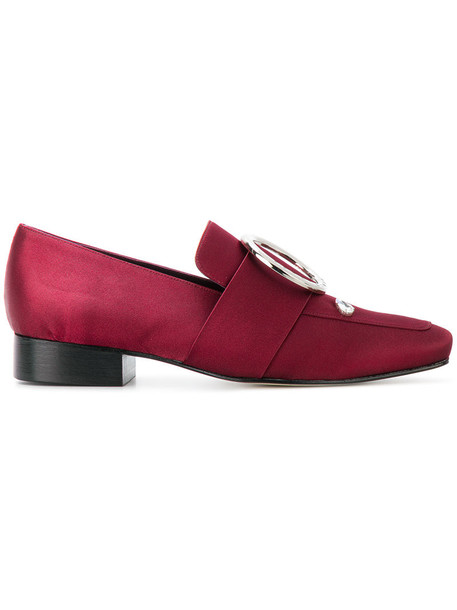 Dorateymur women loafers leather satin red shoes