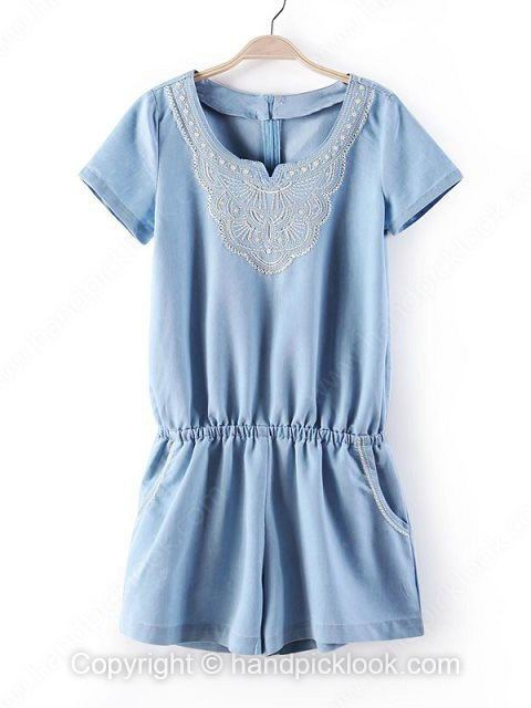 Blue Short Sleeve Embroidery Pockets Denim Jumpsuit - HandpickLook.com
