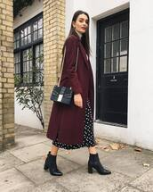 bag,mini bag,shoulder bag,chain bag,coat,wool coat,ankle boots,black boots,mini skirt,polka dots
