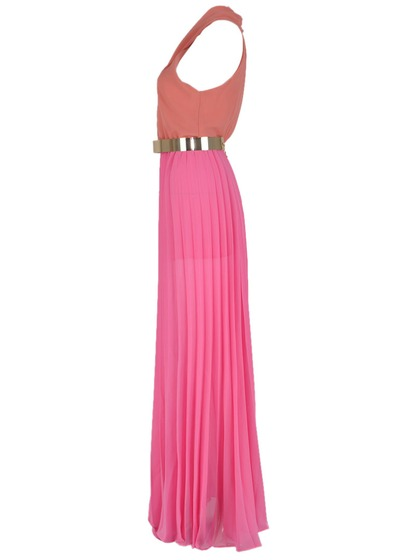 Pin V-neck Maxi Dress With Belt - Choies.com