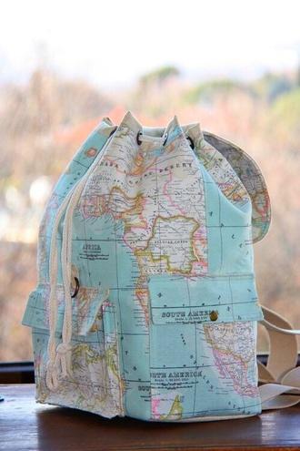bag map globe backpack
