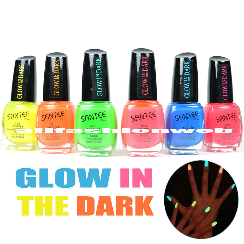 "Santee Nail Polish "" Glow in The Dark "" Lacquer Collection Lot of 6 Full Set 