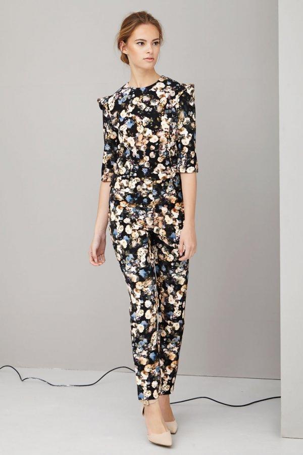 Dark floral structured jumpsuit