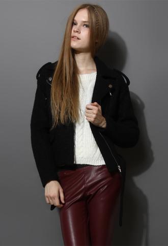 jacket felt wool motocycle belt black