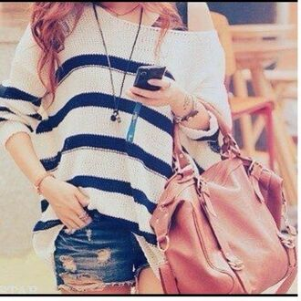 blue and white striped bag blouse