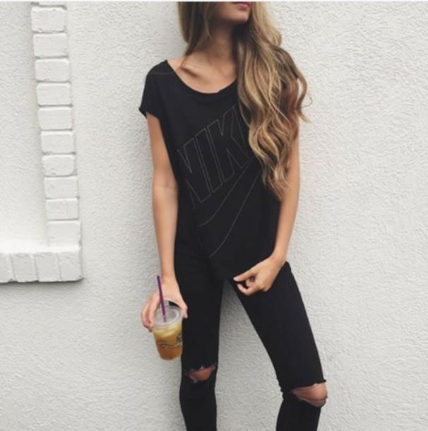 Jeans ripped jeans shirt nike black black shirt for T shirt dress outfit tumblr