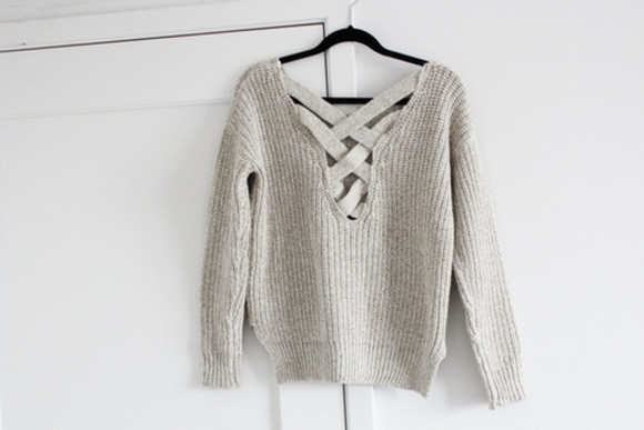 low back back crossover sweater sweater grey knitwear jumper braided outfit winter outfits warm