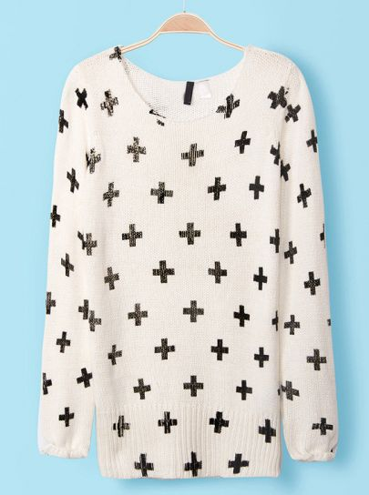 White Long Sleeve Cross Pattern Knit Sweater