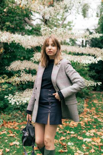 jacket blazer tumblr grey blazer plaid blazer skirt mini skirt top black top bag black bag