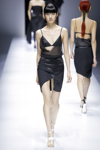 skirt top black black top mini skirt asymmetrical bra bralette runway paris fashion week 2017 model lanvin