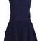 Navy sleeveless embroidery pleated lace dress - sheinside.com