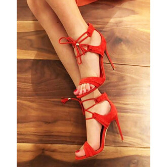 shoes red red shoes open toes strappy heels stilettos stiletto shoes high heels high heel sandals red high heel sandals red high heels fsjshoes
