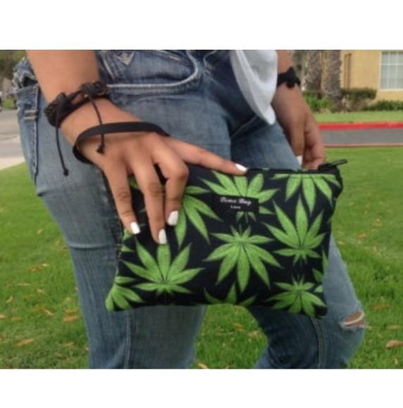 bag clutch classy make-up 420 stoner print high makeup bag marijuana weed green hippie