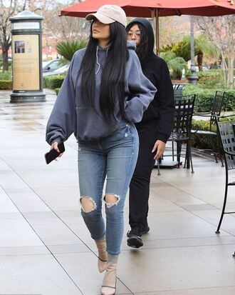 sweater hoodie kylie jenner boots jeans ripped jeans streetstyle fall outfits