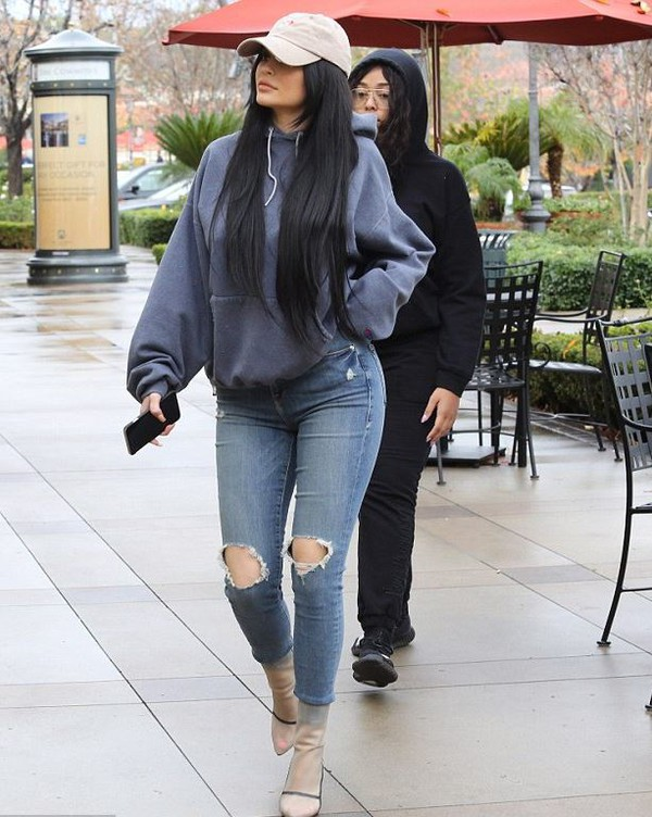 Sweater Hoodie Kylie Jenner Boots Jeans Ripped Jeans
