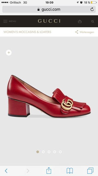 shoes gucci loafers red