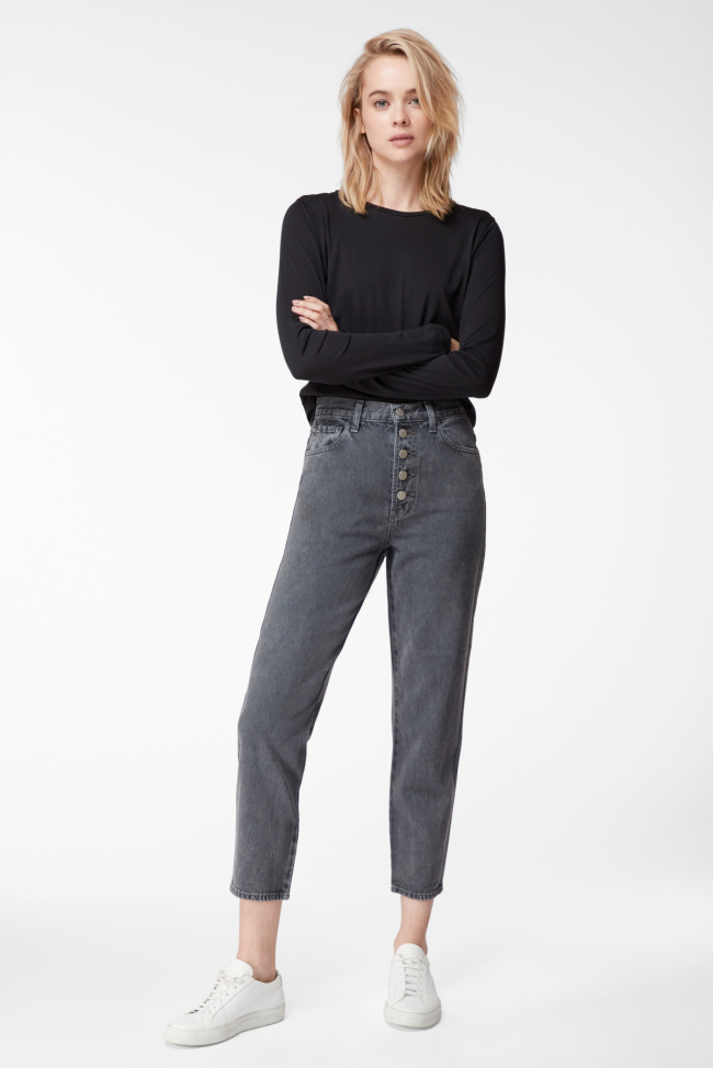 High-Rise Heather Button-Fly Jean In Haven