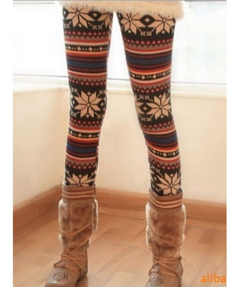 printed pants leggings winter outfits Red Lime Sunday
