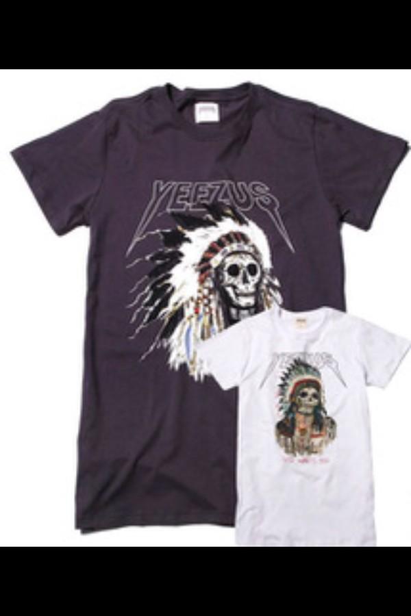 white black yeezus skirt skull feathers t-shirt