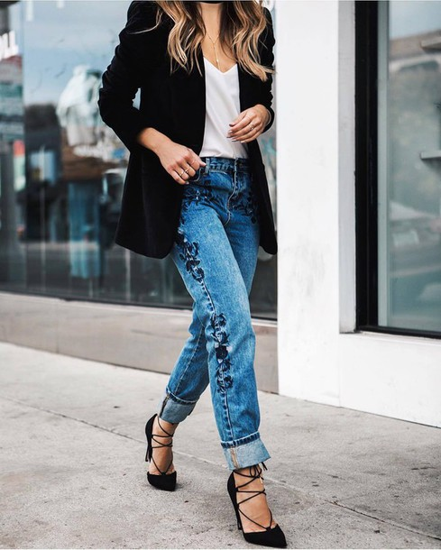 2e5f3eb931b jeans tumblr denim blue jeans embroidered jeans embroidered cuffed jeans  pumps high heels lace up heels