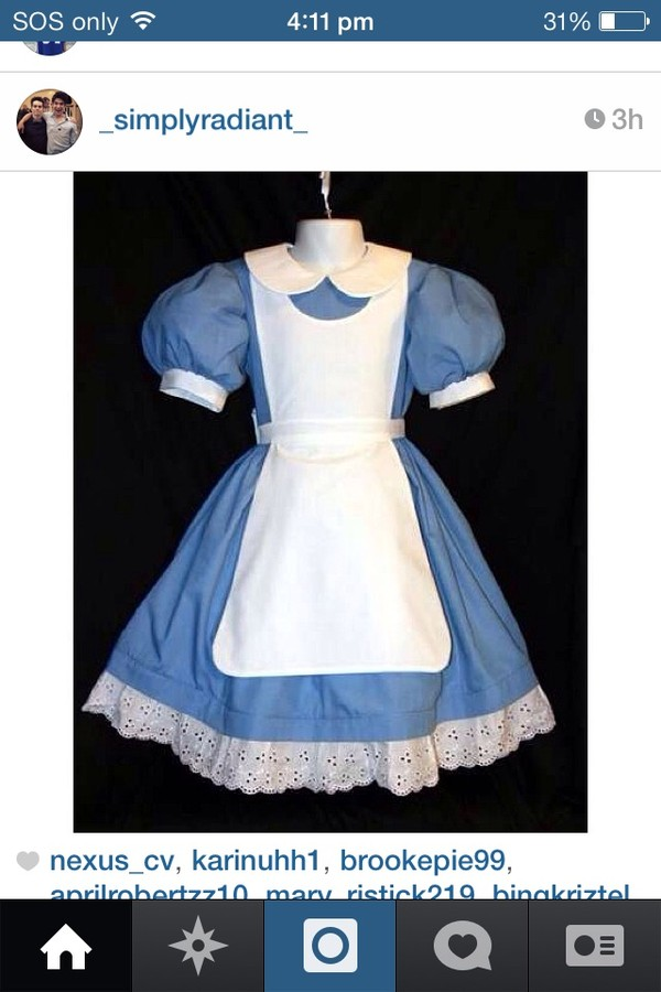 dress blue alice in wonderland white cute