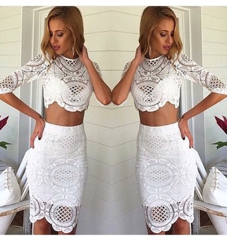 top blouse long sleeves skirt crop tops white crop tops white skirt see through lace top high waisted skirt outfit two-piece earrings accessories