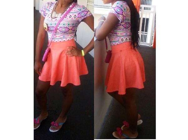 shirt orange skirt pink purple coral crop tops green printed crop top bows bow jewels