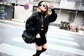 angelica blick,blogger,jacket,bag,rock,soft grunge,black,alexander wang,bomber jacket,round sunglasses,thigh high boots