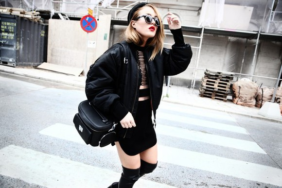 alexander wang blogger black rock bag angelica blick jacket soft grunge bomber jacket round sunglasses thigh high boots