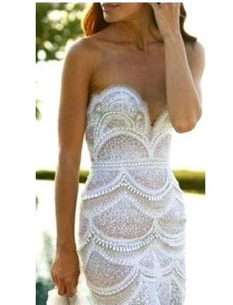 dress lace dress strapless dress white dress embellished dress cocktail dress