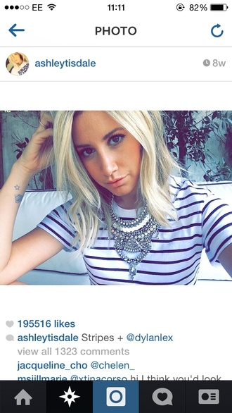 top ashley tisdale stripes jewels