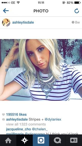 ashley tisdale top stripes jewels