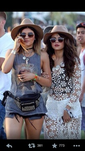 dress,selena gomez,floral,shorts,headpiece,jewels,shirt,hat,bag