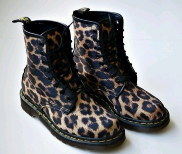 shoes leopard print cheetah print pony hair DrMartens