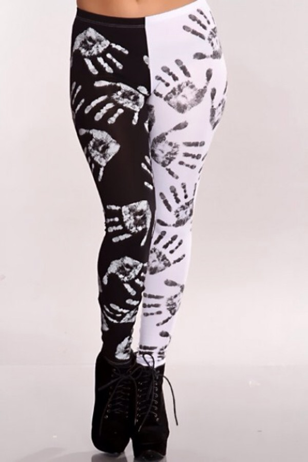pants miley cyrus music video handprints leggings