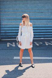 dress,tumblr,white dress,off the shoulder,off the shoulder dress,shirt dress,shoes,mules,gucci shoes,gucci,bag