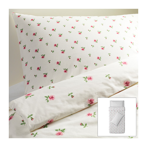 EMELINA KNOPP Quilt cover and 2 pillowcases - 150x200/50x80 cm  - IKEA