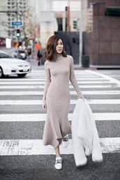 tsangtastic,blogger,dress,jacket,shoes,le fashion image,sweater,sweater dress,nude dress,white sneakers,fur coat,grey knit dress,beige knit dress