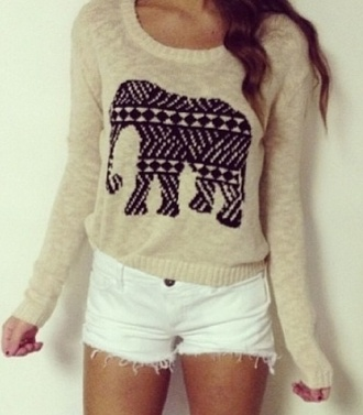 top beige aztec elephant cute fashion adorable sweet style gorgeous sweater lovely shorts white sweater white top beige top and beige shoes beige sweater native american african print animal print animal animal clothing bag