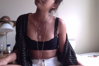 jewels gold angel wings chain chain necklace underwear blouse black black crop top high waisted shorts sweater cardigan tank top shirt short dark blue white bra bandeau