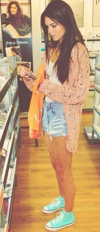 coat oversized cardigan high waisted denim shorts vans blouse kendall jenner pink cardigan sweater peach pink casual sweater tights knitted cardigan knitted sweater coral cool summer outfits summer