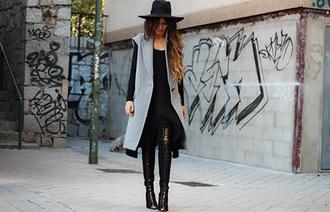 madame rosa blogger jacket hat grey peep toe boots lace up dress