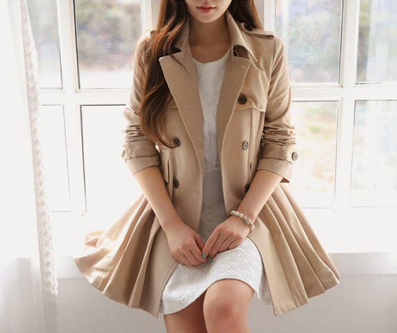 Trendy pleated trench coat jacket