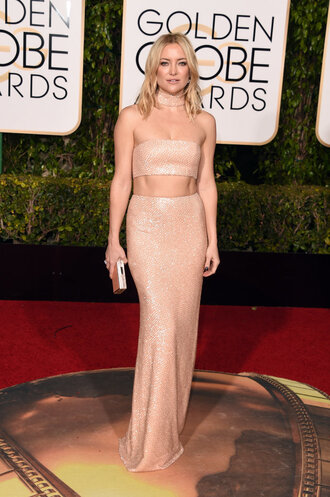 skirt top two piece dress set nude nude dress kate hudson golden globes 2016 maxi skirt red carpet dress sequin dress clutch sandals shoes