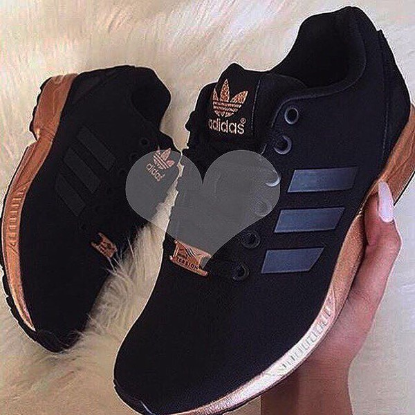 fffeadae15c9 Womens Adidas ZX Flux Black Copper Rose Gold Metallic NMD Medal ...