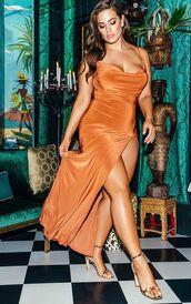 dress,gown,prom dress,plus size dress,curvy ladies,slit dress,sandal heels,celebrity,ashley graham